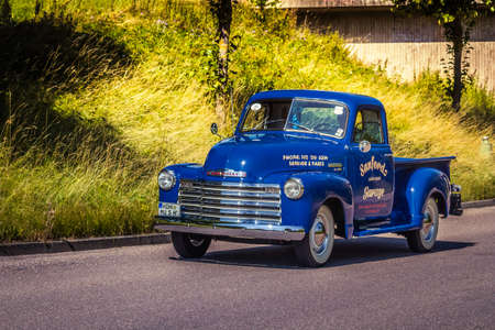 Heidenheim, Germany - July 8, 2018: Chevrolet 3100 Pick-up truck at the 2. Oldtimer day in Heidenheim an der Brenz, Germany.