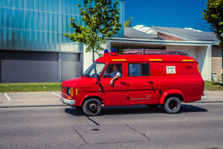 Heidenheim, Germany - July 8, 2018: Ford Transit fire engine at the 2. Oldtimer day in Heidenheim an der Brenz, Germany.