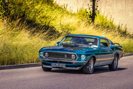 Heidenheim, Germany - July 8, 2018: 1969 Ford Mustang at the 2. Oldtimer day in Heidenheim an der Brenz, Germany. Sajtókép