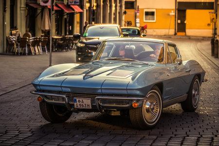 Augsburg, Germany - September 30, 2018: 1963 Chevrolet Corvette oldtimer car at the Fuggerstadt Classic 2018 Oldtimer Rallye.