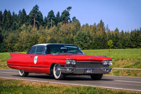 Augsburg, Germany - September 30, 2018: 1960 Cadillac Coupe de Ville oldtimer car at the Fuggerstadt Classic 2018 Oldtimer Rallye. Editorial