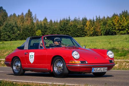 Augsburg, Germany - September 30, 2018: Porsche 911 Targa oldtimer car at the Fuggerstadt Classic 2018 Oldtimer Rallye.