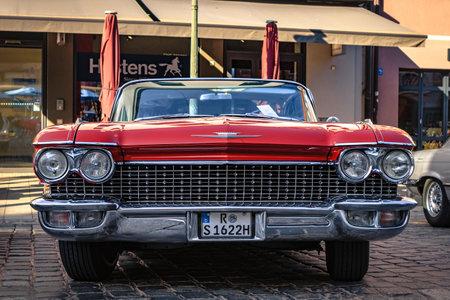 Augsburg, Germany - September 30, 2018: 1960 Cadillac Coupe de Ville oldtimer car at the Fuggerstadt Classic 2018 Oldtimer Rallye.