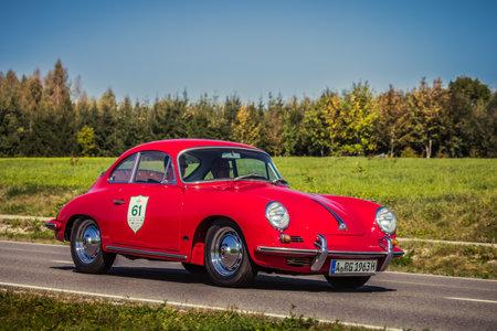 Augsburg, Germany - September 30, 2018: Porsche 356 oldtimer car at the Fuggerstadt Classic 2018 Oldtimer Rallye. 에디토리얼