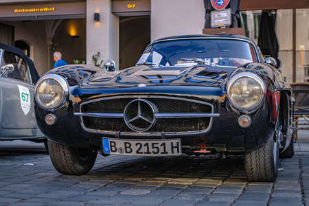 Augsburg, Germany - September 30, 2018: 1955 Mercedes-Benz 300 SL oldtimer car at the Fuggerstadt Classic 2018 Oldtimer Rallye.