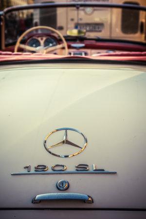 Augsburg, Germany - September 30, 2018: Mercedes-Benz 190 SL oldtimer car at the Fuggerstadt Classic 2018 Oldtimer Rallye.