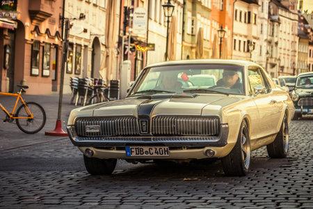 Augsburg, Germany - September 30, 2018: 1968 Mercury Cougar oldtimer car at the Fuggerstadt Classic 2018 Oldtimer Rallye. 에디토리얼