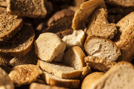 food additives: Many slices of stale bread and other stale baked goods  Stock Photo
