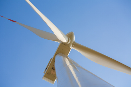 close range: Wind turbine photographed at close range, propeller wind turbine in the frame