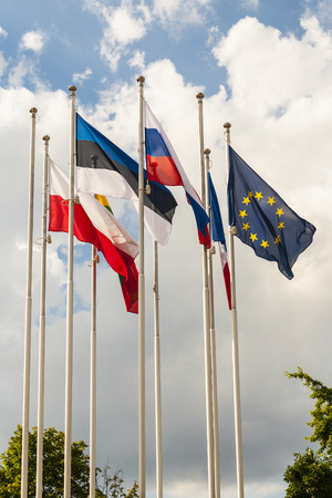 European countries flag  on a background of sky  photo
