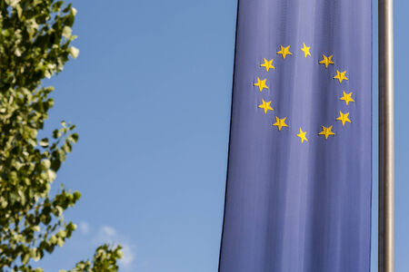 European Union flag on a background of sky  photo