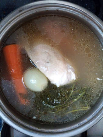 traditional remedy: Traditional chicken soup for home remedy Stock Photo