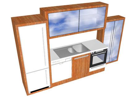 3D design of kitchen elements photo
