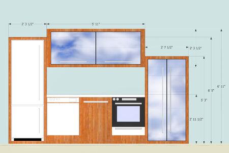 Designing kitchen element with measurements photo