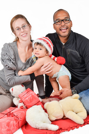Happy interracial family is laughing photo