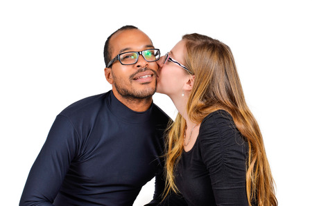 Man and a Woman Kissing are in Love photo