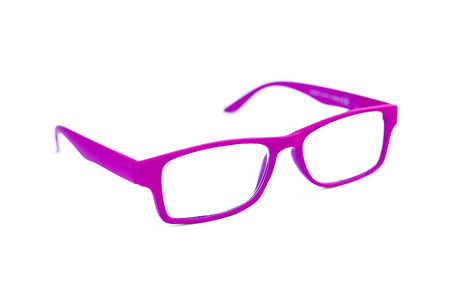 Pink Eye Glasses Isolated on White with shallow depth of field and soft focus photo