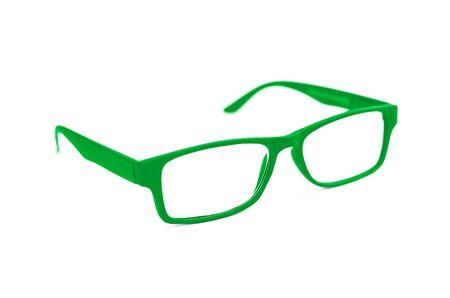 eye green: Verde Lentes oculares aislados en blanco con poca profundidad de campo y enfoque suave