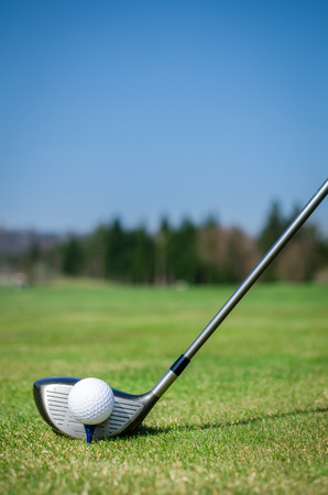 ドライバー ゴルフ クラブとグリーンにゴルフ ・ ボールをチッピングします。緑のバック グラウンドでフォレストを持つ草。ソフト フォーカスまたはフィールドの浅い深さ。 写真素材 - 39202491