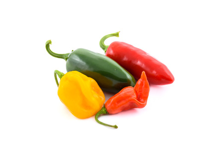 red jalapeno: Different Variety of chillies. Yellow Orange, Red lantern hot habanero and red and green jalapeno chili pepper from Caribbean or mexico. Isolated on white