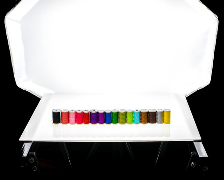 tabletop: Modern tabletop photo studio for product photography. Stock Photo