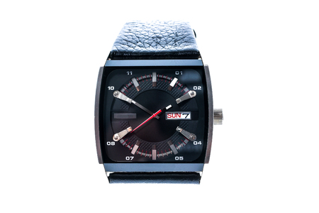chronograph: Mens luxury square swiss mechanical wrist watch with leather wristband strap. Chronograph or tachometer isolated on white. High resolution photo. Stock Photo