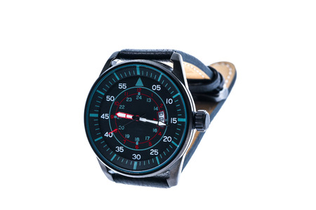tachymeter: Mens luxury round swiss mechanical wrist watch with leather wristband strap. Chronograph or tachometer isolated on white. High resolution photo. Stock Photo