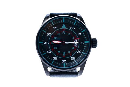 cronografo: de lujo para hombre redondo reloj de pulsera mecánico suizo con correa de pulsera de cuero. Cronógrafo o un tacómetro aislados en blanco. Foto de alta resolución. Foto de archivo