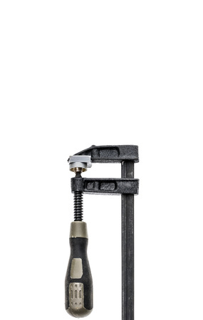 carpenter vise: Two black and grey Carpenter clamp isolated on white background. Concept of zip, rar and compress.