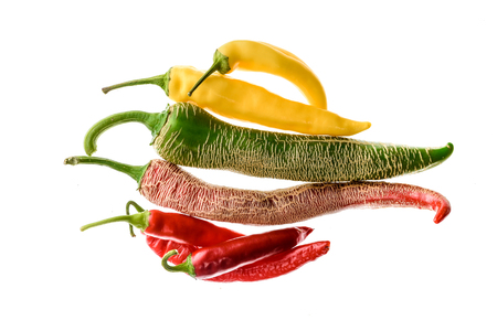 gat: Different variety of hot peppers or chilies, isolated on white. Hot pepper Macedonian Fringed, Sarit Gat, Red Cherry, Cayenne, Serrano and regular chili. Stock Photo