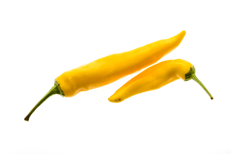 gat: Organic Yellow hot chili peppers Sarit Gat with green stem. Studio image Isolated  on white background.