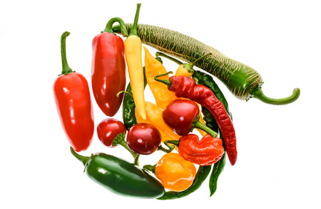 gat: Different variety of hot peppers - a bunch of chilies, isolated on white. Hot pepper Macedonian Fringed, Sarit Gat, Red Cherry, Cayenne, Serrano, Habanero Orange, Jalapeno, Fatalii Yellow, Trinidad Scorpion Moruga and regular chili. Stock Photo
