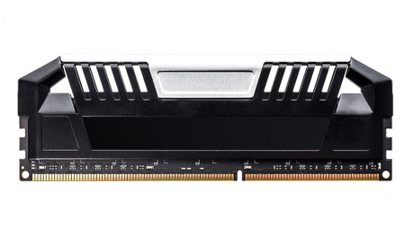 ddr3: Modern Professional RAM memory module with black radiator heat sink isolated on white background