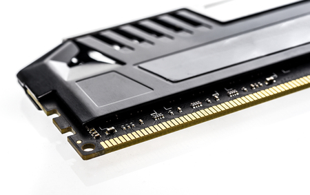 Modern Professional RAM memory module with black radiator heat sink isolated on white background Stok Fotoğraf - 66232926