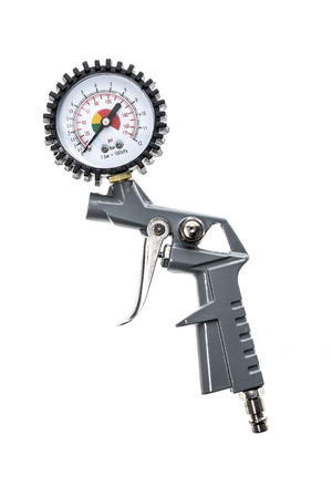 Air compressor gun with manometer isolated on a white background. Close up of blow gun for compressed air as a part of air compressor system with manometer pressure gauge.