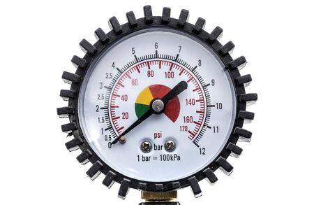 air gauge: Industrial manometer pressure gauge isolated on a white background. Air compressor gun manometer with black needle and color scale for psi or bar.