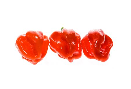 capsaicin: Fresh ripe Caribbean Red Habanero hot chili pepper with green stem. Isolated on white. Stock Photo