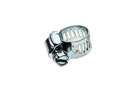 worm gear: Stainless Steel Metal Hose Clamp isolated on a white background. Ideal tool for plumbers, construction workers and household repairing.