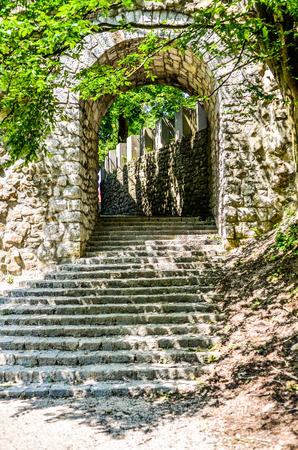 Old Ancient vintage castle stone stairs with trees and forest. Remains of old monastery and ruins of medieval fortress in the forest with a staircase in Ljubljana Castle