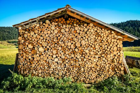 Pile or stack of natural fire wood logs under roof. Big stack of fire wood logs are protected from weather, by being under a roof or a house in a field. Stock Photo