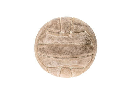 old items: Old, used and washed handball ball isolated on white. Old, used and obsolete sports equipment. Stock Photo