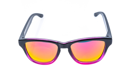 child protection: Fashion Children sunglasses, sun shades or spectacles isolated on white background. Color child glasses protection from sun and UV rays. Concept of sun protection and vacation.