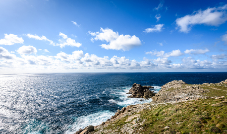View of atlantic ocean rocky cliffs -  Cabo Tourinan Spain. Spectacular view of Atlantic ocean at westmost point of mainland Spain. High res panoramic picture.