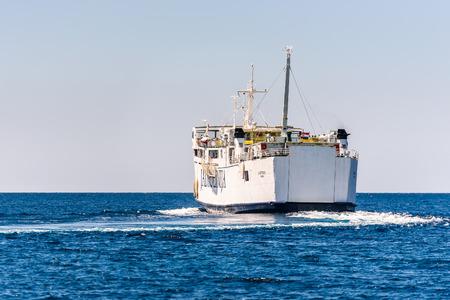 Silba, Croatia - July 16, 2017:  Jadrolinijas Ferry boat Lastovo  on its regular route from island Silba to Olib. Editorial