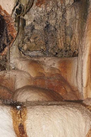 stalactite formations in the cave with natural hot water, under