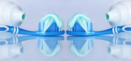 toothbrushing: Toothbrushing for beautiful healthy teeth Stock Photo