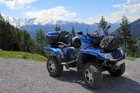 With the ATV in the mountains Stock Photo