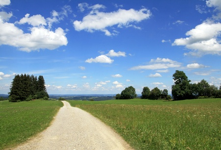 peasantry: The path through a beautiful Bavarian countryside Stock Photo