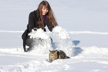 A young girl plays with her cat Stock Photo - 16854595