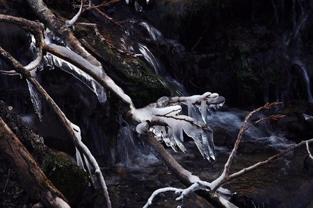 icescape: On a cold day, ice sculptures form the water